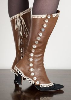 WHat do you think of making spats to cover shoes.  It's punks it a bit, but keeps the look from one pair of shoes to the next if the actor has to replace shoes.  Perhaps a way to cover those that can't afford to purchase their shoes if they don't already have them. Really like steampunk spats!