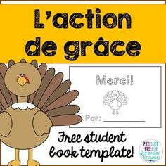 Thanksgiving - L'Action de grace mini book! Great for Core French or Immersion students! A quick activity to get them thinking about things that they are thankful for at Thanksgiving :) #frenchimmersion #corefrench