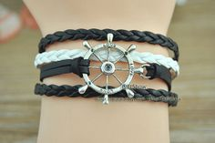 Silver rudder bracelet  Black & White braided leather by GiftShow, $3.50 Personalized fashion handmade bracelet,the best gift of friendship.