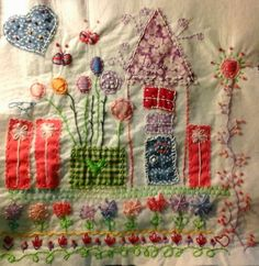 ♥house and whimsy textiles Embroidery Applique, Cross Stitch Embroidery, Embroidery Patterns, Machine Embroidery, Vintage Embroidery, Fabric Art, Fabric Crafts, Sewing Crafts, Sewing Projects