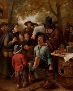 """The Tooth-Puller (or """"The Quack Doctor"""") - Jan Steen. Oil on canvas. 33 x 27 cm. Royal Picture Gallery, Mauritshuis, The Hague, Netherlands. The Vicar Of Wakefield, Tableaux Vivants, Baroque Art, Dutch Golden Age, Classic Paintings, Types Of Painting, Dutch Painters, Dutch Artists, Art Database"""