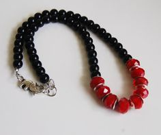 Black And Red Beaded Statement  Necklace by jewelrybyferoza, $30.00