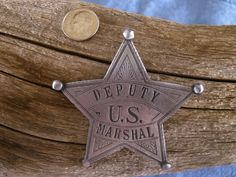Deputy US Marshall 5 Point Star Badge with pin back Law Enforcement Badges, Us Marshals, Police Badges, Old Barn Wood, Old West, Old Things, Bronze, Rustic, Stars