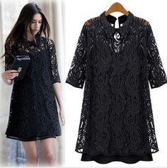 2014 spring new lace dress lapel European style two-piece women shirt plus Size Lace Chiffon Hollow black clothing XXL XXXL $16.80
