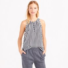 """J.Crew Stripe Silk Top Proof that your work blouse, date-night blouse and weekend blouse can be all the same blouse. Front keyhole with button closure. Hi-low & 100% silk. Flat measurement @ Bust: 17.5"""", Lengh front: 25""""- back: 28"""". J. Crew Tops Blouses"""