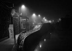 Love this photo.A misty walkway alongside a canal in the early hours of the morning in Galway city in the west of Ireland. Roisin Dubh, Day Van, Space Travel, Places To See, Surfing, How To Memorize Things, City, Photography Topics, College House