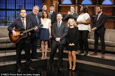 Don't cry: Chris Pratt and Amy Poehler led the cast of Parks And Recreation in a song to bid farewell to the NBC series during a visit to Late Night With Seth Meyers on Tuesday