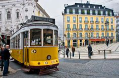 """The famouse """"28"""" tramway in Chiado quarter, Lisbon."""