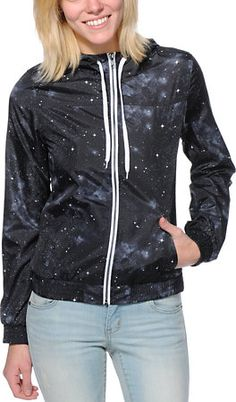 Zine Girls Black Celestial Windbreaker Jacket at Zumiez : PDP