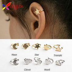 Lua de metal cobre prata ouro trevo coração estrela triângulo piercing brincos punhos da orelha para mulheres boucle bijoux em Brinco de pressão de Jóias e acessórios no AliExpress.com   Alibaba Group