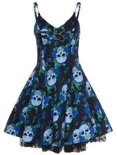 """Women's """"Skull Rose"""" Blue Short Dress by Jawbreaker (Black/Blue)"""