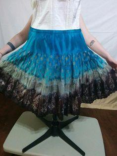 Tie Dye Peasant Skirt Blue and Brown 100% Cotton Dressbarn Size M Crochet Hem  | eBay