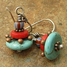 Stacked slices of turquoise and coral are separated by a pointy copper spacer. Topping the stack is a small striped bead from Africa in blue and red. Set on ball headpins and hanging from my handmade sterling silver ear wires, they are 1 inches long. Jewelry Design Earrings, Copper Earrings, Bead Earrings, Designer Earrings, Wire Jewelry, Boho Jewelry, Jewelry Crafts, Jewelry Art, Beaded Jewelry