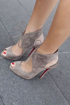 FSJ gray peep toe pump lace up high heels stiletto heel slingback pump heel fall outfits fashion outfits Suede Heels, Stiletto Heels, Shoes Heels, Tan Shoes, Suede Sandals, Suede Booties, Shoes Sneakers, Pretty Shoes, Beautiful Shoes