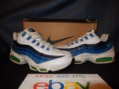 VTG Nike Air Max 95 SC 1997 Release New Green Blue Slate 9.5 OG Box 604069 AM95…