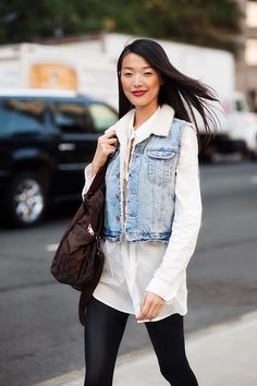 Light denim jacket with a light white shirt and red lipstick