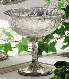 Vintage Pedestal mercury glass bowl  antique silver 7 x 7 ~ Afloral