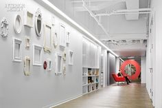 Firm: Eastlake Studio. Project: Equator Design. Location: Chicago. Standout: At a packaging design firm's graphically charged studio, walls sport mismatched picture frames and hand-painted murals, including a giant octopus.