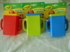 New Crayola Juice Box Buddy Holder Sippy Drink Cup Choice of 3 Colors BPA Free  #Crayola
