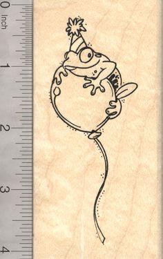 Party Frog Rubber Stamp (L9614) $13 at RubberHedgehog.com