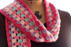 Granny Square scarf, colorful scarf, womans scarf