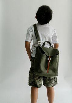 SALE -15% OFF - Tanya Backpack For Kids - Olive Green // Children / Messenger / Satchel / Rucksack / Boys / Girls