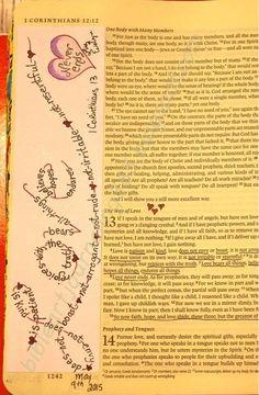 lots of stuff on here. Easy Bible Art Journaling Journey: 1 Corinthians 13 (May … lots of stuff on here…. Bible Study Journal, Scripture Study, Bible Art, Art Journaling, Prayer Journals, Scripture Journal, Bible Drawing, Bible Doodling, Bible Prayers