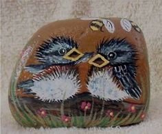 Hand-Painted-Baby-Robins-Rock-Signed