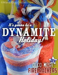 Deco Mesh Firecrackers for Wreaths or Centerpieces   Fourth of July Decor Ideas by MardiGrasOutlet.com
