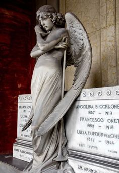Portraying a pensive female angel with long, richly detailed wings, it is acknowledged as one of the most beautiful and sensual sculptures in the Cimitero Monumentale, Italy.