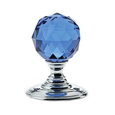 Facetted Blue Glass Ball Door Knobs on Polished Chrome Roses - The Facetted Blue Glass Ball Door Knob is an excellent addition to any door. The polished chrome finish will add a luxurious look to any room. This knob is also available in a variety of coloured glass and roses
