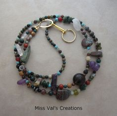 A multi gemstone lanyard. A fun way to wear your ID badge, keys, transportation pass or cruise card!