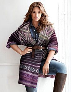 Patterned with eye-exciting designs and rich seasonal hues, our sweater coat is one luxe layer. This heavy-knit sweater coat offers soft, cozy warmth for the season, with a draped open front to frame what's layered underneath. Trendy Plus Size Clothing, Plus Size Dresses, Plus Size Outfits, Plus Size Fashion, Curvy Girl Outfits, Curvy Girl Fashion, Work Outfits, Women's Fashion, Sweater Coats
