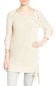 Pam & Gela Side Lace-Up Cotton Sweater available at #Nordstrom