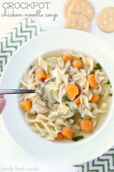 As you know, I LOVE SOUP! And what I love even more is soup that I can cook in the crockpot. The is The Best Crockpot Chicken Noodle Soup EVER!