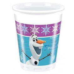 Pour un  anniversaire fille  sur le  thème de la Reine des Neiges (Frozen)  choisissez ces gobelets représentant  Anna ,  Elsa  et  Olaf , le bonhomme de neige rigolo.   Les gobelets sont en plastique résistant, le bleu et le mauve ainsi que les flocons rappellent le film d'animation de Walt Disney. Ils conviendront parfaitement pour servir les jus de fruits et sodas lors du goûter d'anniversaire.   Et  pour une déco reine des neiges réussie  n'oubliez pas les assiettes, serviettes, nappes…