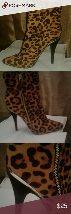 Anne michele leopard print booties pointy toe , stiletto heel. soft faux fur material Anne Michelle Shoes Ankle Boots & Booties