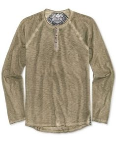 American Rag Men's Raw Edge Spring Henley, Only At Macy's  - Green 2XL