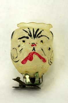 $750 Antique-Rare-German-Blown-Glass-Candle-Lantern-Bulldog-Christmas-Ornament-ca1900