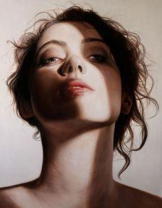 """Untitled Exposure"" - Matt Doust {#hyperreal female portrait painting}"