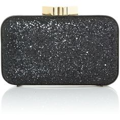 Lulu Guinness Glitter fifi black clutch bag ❤ liked on Polyvore featuring bags, handbags, clutches, lulu guinness handbags, glitter clutches, glitter purse, glitter handbag and lulu guinness purse