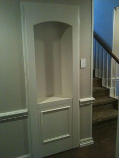 Hidden door to a secret room. This would be awesome to hide the stairs to the attic. Hidden Spaces, Hidden Rooms, Secret Space, Secret Rooms, Door Design, House Design, Murphy Door, Panic Rooms, Safe Room