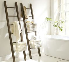 The Lucas Reclaimed Wood Bath Ladder Storage from Pottery Barn is a great multi-functional option to increase your bathroom functionality. Wood Bath, Bathroom Ladder, Decor, Ladder Storage, Rustic Ladder, Towel Storage, Small Bathroom Remodel, Home Decor, Ladder Towel Racks