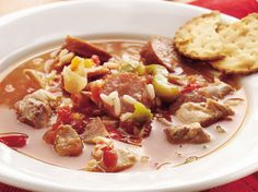 Slow Cooker Spicy Chicken and Sausage Soup. I use fresh green peppers and onions. I also add in some red potatoes, salt, pepper, and sometimes I will leave out the red pepper sauce and use cajun seasoning.