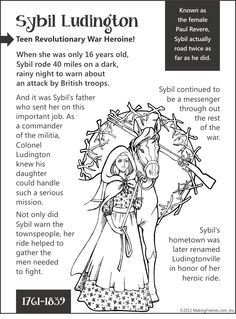 Sybil Ludington... Teen Revolutionary War Heroine