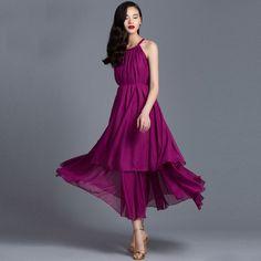 Fashion Off-The-Shoulder Ruffled Skirt Chiffon Below Knee Length Women Chiffon Dress -1