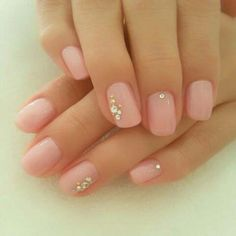 pink jelly nails with powder design