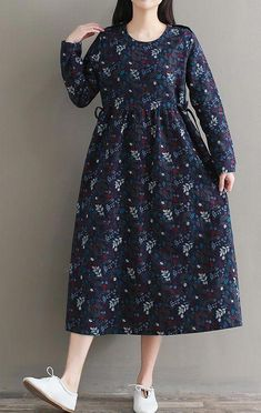 Women loose fit plus size pocket dress retro flower tunic long sleeve fashion Women's Retro Floral Tunic Long Sleeve Fashion Loose Fit Plus Size Pocket Dress Simple Dresses, Casual Dresses, Fashion Dresses, Girls Dresses, Summer Dresses, Summer Skirts, Linen Dresses, Cotton Dresses, Hijab Style Dress