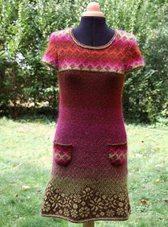 I knit this dress to use all the single skein of Mohair I had. FREE