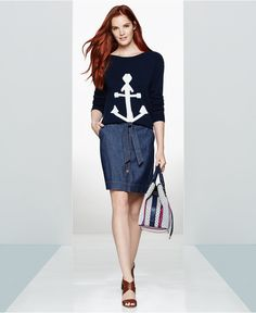 Tommy Hilfiger Anchor Graphic Sweater & Button-Front Denim Skirt, Only at Macy's - Women - Macy's